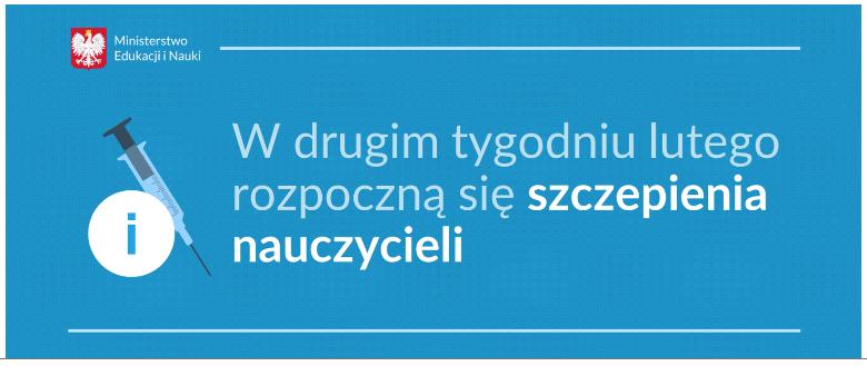 #SzczepimySię – wdrugim tygodniu lutego rozpoczynamy szczepienia nauczycieli