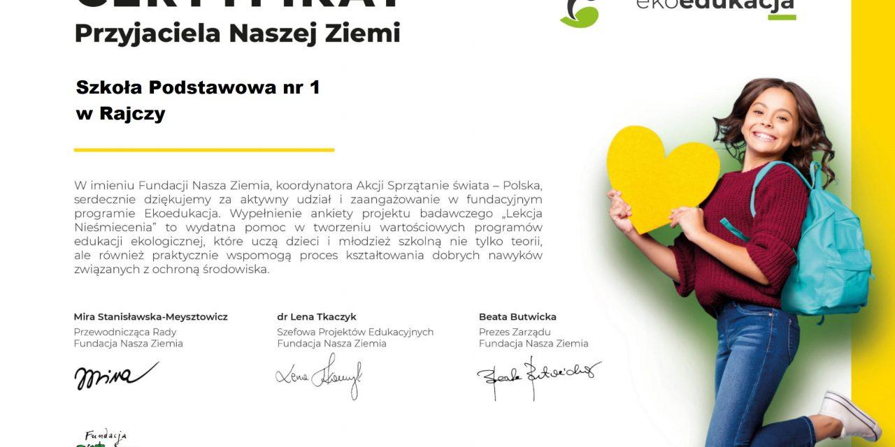 Certyfikat Przyjaciela Naszej Ziemi
